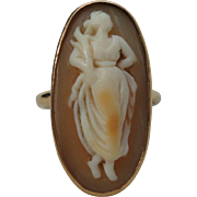 SALE 14K Yellow Gold Cameo Ring Demeter, the Goddess of Corn, Grain, and the Harvest Size 6.5