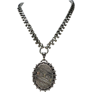 C1888 English Sterling Silver Locket with Matching Book Chain