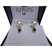 Very Lovely Cultured Pearl & Ruby 14k White Gold Screwback Naomi