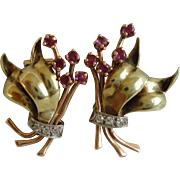 Beautiful 1940 Retro Ruby Diamond 14K Rose, White and Yellow Gold Clip on Earrings