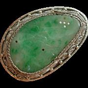 Very Nice Art Deco Chinese Export Sterling Silver Moss in snow Jadeite Jade Pin Brooch