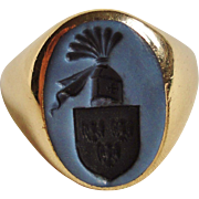 Intaglio Sardonyx 14K Yellow Gold Men's Ring Oxford Queen's College