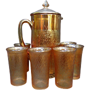 SALE Rare! 8 Piece Jeanette Tree Bark Marigold Carnival Glass Cider Pitcher Tumbler Set with L
