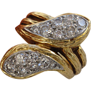 Victorian Style Van Cleef and Arpels VCA 18K Yellow Gold 0.71 CT Diamond Snake Wrap Ring Size