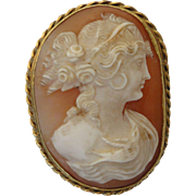 Victorian 18K Carved Shell Cameo Pin Brooch
