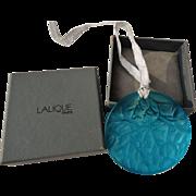 Lalique France Frosted Crystal Blue Noel Glass Ornament 1989 Mistletoe