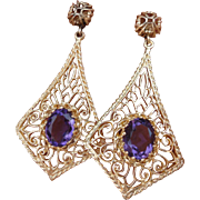 SALE Most Beautiful 14K Yellow Gold Filigree Amethyst Earrings