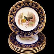 "Set 6 Antique Royal Worcester Cobalt Blue Gilt Dinner Plates Birds Phesants 9"""