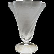 "Elegant Lalique ""Lucie"" Frosted Lead Crystal Shell Design Trumpet Vase"