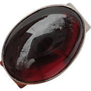 SALE Beautiful C1950s Sterling Silver Ring with Large Cabochon Garnet