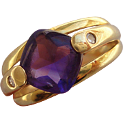 Awesome Retro Modernistic 14K Yellow Gold Diamond Amethyst Ring