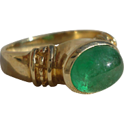 SALE Designer 2.5 Carat Emerald Cabochon Lady's Ring 14K Yellow Gold Size 8
