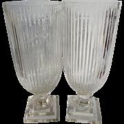 SALE Brilliant Antique French Cut Crystal Pedestal Vases Hurricane Candle Holder