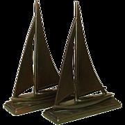 "Sailing Sloop Bookends, Bronzed Metal, 10"", 1930's"