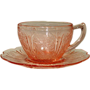 Cherry Blossom Cup and Saucer, Pink, Jeannette Glass, 1930-39