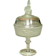 """EAPG Covered Compote, Westward Ho! pattern, 11.5"""", 1879"""