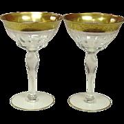 Tiffin Glass, Rambler Rose, Champagne / Tall Sherbet, Pair