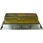 Egyptian Revival or Art Deco Stamp Box, Beveled Glass, Brass & Steel