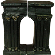 """Early 20th Century Cast Iron Bookends, Arch Shape, Gilt Trim, 7.5"""""""