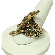 Vintage Custom Made Aligator Ring, 14K, Size 10.5, 26.5 grams