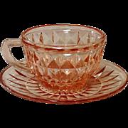 """Pink Depression, Windsor, """"Windsor Diamond"""", Jeannette Glass, Cup & Saucer"""