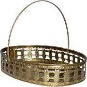 Vintage, Mid-Century, Large Oval Brass Basket Tray w/ handle, India, Pineapple Motif