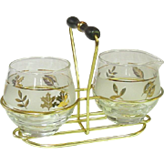 Mid-Century, Libbey Glass, Creamer and Sugar in Wire Holder, Golden Foliage
