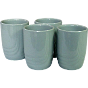 Vintage Pottery Tumblers, Gray, U.S.A., Mid-Century, Four Pieces