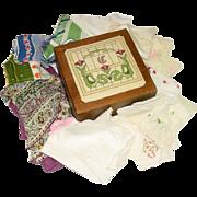 Vintage Hankies, Silk Scarf, in Felt Lined Wood Box