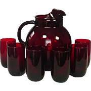 Anchor Hocking Glass, Royal Ruby, Upright Pitcher and Six Tumblers