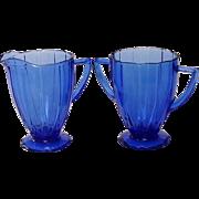"Depression Glass, Newport or ""Hairpin"", Cobalt Creamer and Sugar, Hazel-Atlas"