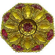 Goofus Glass, EAPG, Carnations pattern, Footed Plate, Circa 1900