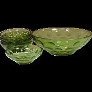 Hazel Atlas Glass, El Dorado, Salad Bowls Set, Avocado Green, 1970's