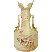 "Robert Hanke, Royal Wettina, Red Mark, Handpainted Vase, 10"", 1881-1914"