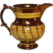 "Copper Lustreware Pitcher, Staffordshire, 19th Century, 4 1/2"", Handpainted"