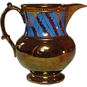 "Copper Lustreware Pitcher, Staffordshire, 19th Century, 5"", Handpainted, Excellent"
