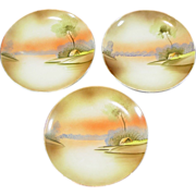 "SOLD 3 Hand Painted Plates, 6 1/2"" ~ Meito China ~ Made in Japan"