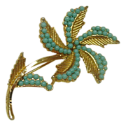 REDUCED B.S.K. Pin ~ Goldtone metal and Turquoise color stones