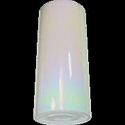 """White Glass Vase ~ Aurora Borealis Finish ~ 14"""" Tall"""