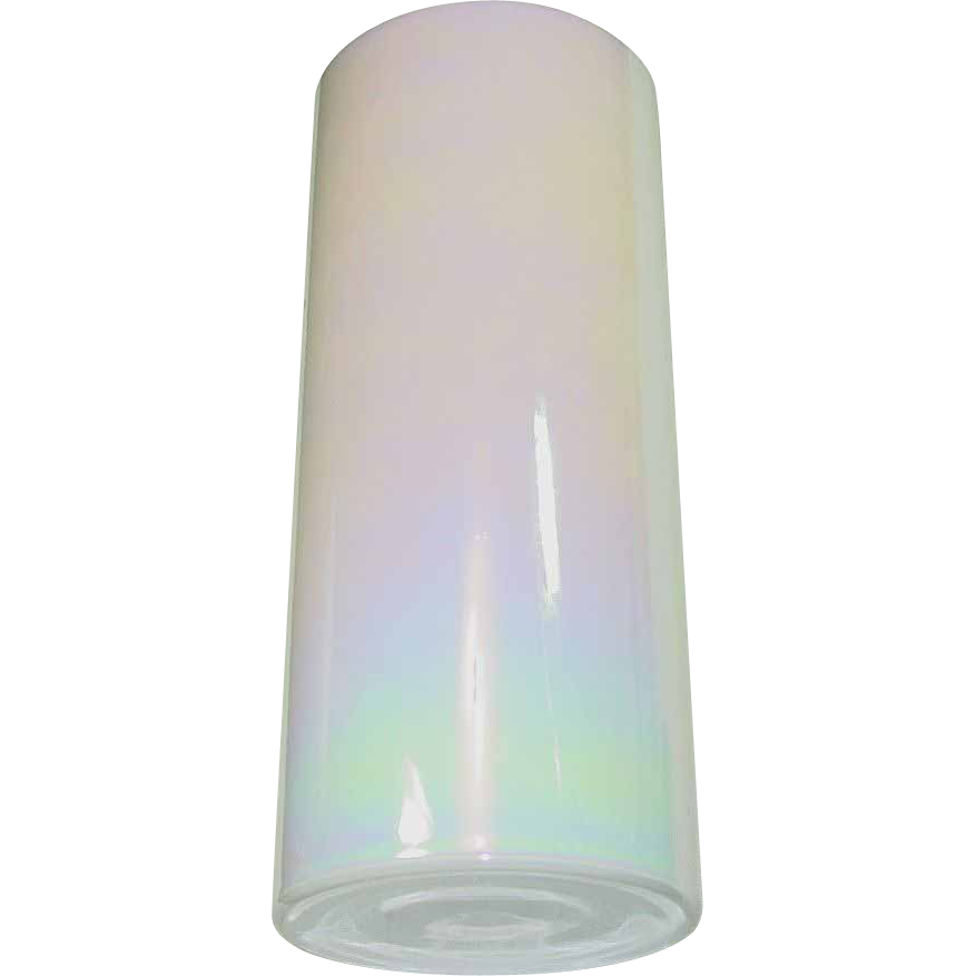 "White Glass Vase ~ Aurora Borealis Finish ~ 14"" Tall"