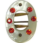 "Vintage Buckle Shaped Pin ~ M.O.P., Pink Rhinestones, Gold Metal ~ 1"" x 3/4"""
