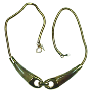 REDUCED Crown Trifari Necklace ~ Goldtone with Faux Horn ~ 13""