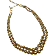 REDUCED Monet Necklace ~ Double Strand of Graduated Gold-tone Beads