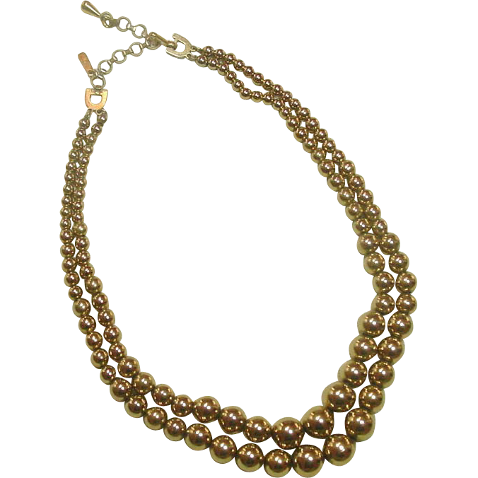 Monet Necklace ~ Double Strand of Graduated Gold-tone Beads