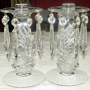 Fostoria Glass ~ #2484 Clear Candleholder w/ Attached Bobeche & Prisms, Pair