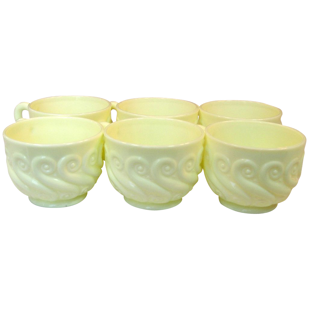 """Northwood Glass ~ Custard Glass ~ Punch Cups ~ """"S"""" Repeat Pattern"""