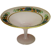 Vintage Cased Glass Compote ~ Fruits Decal, Gilt Trim