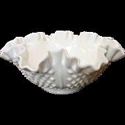 "Vintage Fenton Hobnail Rope 8"" Double Crimped Bowl ~ Milk Glass"