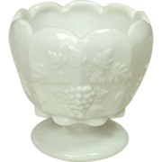 """Westmoreland Glass ~ Paneled Grape, Milk Glass, 4"""" footed Rose Bowl"""