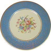 "Salem China, Ohio ~ 10 3/4"" Plate ~ 23 KT Trim, Floral Bouquet Decor"